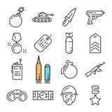 Черная линия воинские установленные значки Включает такие значки как танк, нож, бомба, солдат Стоковое Фото