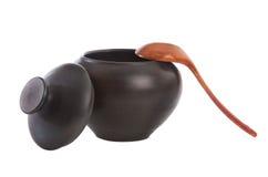 черная ложка котла деревянная Стоковая Фотография RF