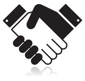 черная лоснистая икона рукопожатия Стоковая Фотография