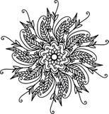 Черная мандала с 2 большими листьями иллюстрация штока
