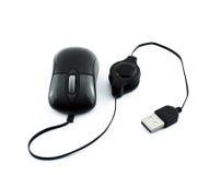 Черная мышь компьютера лазера с проводом usb Стоковые Фотографии RF