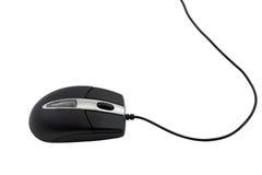 Черная мышь компьютера на белой предпосылке. Стоковые Изображения
