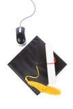 черная мышь mortarboard компьютера Стоковые Фотографии RF