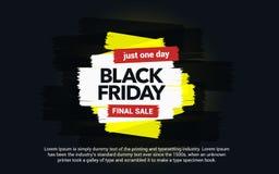 Черная надпись продажи пятницы Абстрактные помарки чернил на черной предпосылке абстрактной покрашенная щеткой реальная текстура  Стоковые Изображения RF