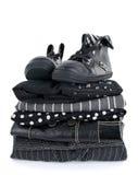 черная одежда ботинок стильная стоковые изображения rf
