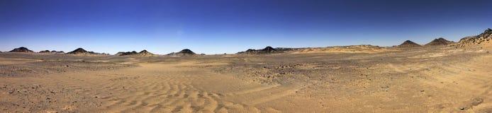 Черная панорама пустыни, зона оазиса, Египет Стоковое фото RF