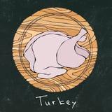 Черная предпосылка доски мела Вся сырцовая Турция, туша цыпленка на круглой разделочной доске Для варить, еды праздника иллюстрация вектора