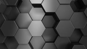 Черная предпосылка шестиугольника 3d представляют бесплатная иллюстрация