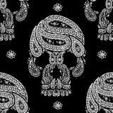 Черная предпосылка Пейсли черепа Стоковые Фото