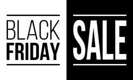 Черная продажа пятницы, vector черно-белый плакат стоковые изображения