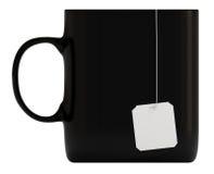 черная пустая изолированная белизна кружки ярлыка 3d Стоковая Фотография