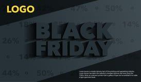 черная пятница Дизайн шаблонов знамен продажи и скидок Надпись с длинной тенью на серой предпосылке Шаблон для объявления Стоковое Изображение RF