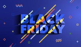 черная пятница Знамя моды продажи и скидок Яркий шаблон в стиле Мемфиса Надпись с длинной тенью на bl Стоковое Фото