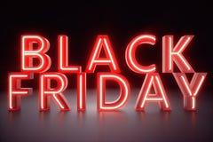 Черная пятница - предполагать продажа года Неоновое красное знамя 3D Большие скидки Только один раз в год, максимум иллюстрация штока