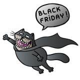 черная пятница Супер кот летает и окрик также вектор иллюстрации притяжки corel речи персоны пузыря вектор графической говоря Стоковая Фотография