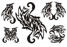 Черная племенная татуировка элементов Стоковое Фото