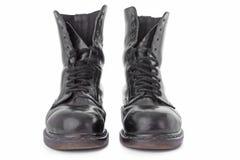 черная работа кожи ботинок стоковая фотография rf