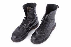 черная работа кожи ботинок стоковое фото rf