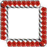 Черная рамка с красными розами Стоковое фото RF