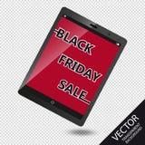 Черная реклама продажи пятницы на мобильном устройстве - иллюстрации вектора - изолированном на прозрачной предпосылке Стоковое фото RF