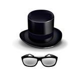 Черная ретро шляпа при стекла изолированные на белизне Иллюстрация штока