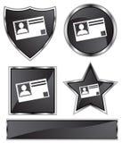 черная сатинировка удостоверения личности карточки Стоковое фото RF