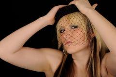 черная сетчатая женщина вуали Стоковые Фотографии RF