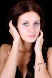 черная синь eyed над женщиной стоковые изображения rf