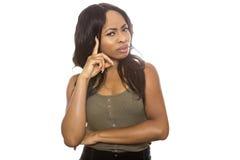 Черная смущенная женщина стоковое изображение rf