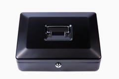 Черная стальная коробка наличных денег. Изолированный Стоковое Изображение