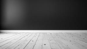 Черная стена и белый деревянный пол Стоковая Фотография RF