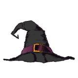 Черная страшная шляпа ведьмы при фиолетовый пояс изолированный на белой предпосылке Искусство цветного барьера Дизайн хеллоуина р Стоковая Фотография