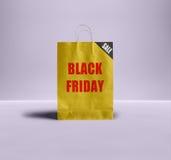 Черная сумка пятницы бумажная Стоковое Фото
