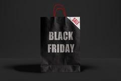Черная сумка пятницы бумажная Стоковые Изображения RF