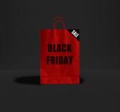 Черная сумка пятницы бумажная Стоковое фото RF