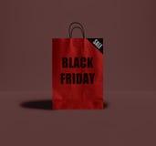 Черная сумка пятницы бумажная Стоковая Фотография