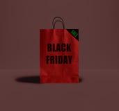 Черная сумка пятницы бумажная Стоковые Фотографии RF