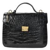 Черная сумка элегантной женщины на белой предпосылке Стоковые Изображения RF