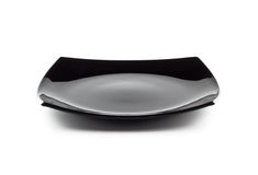 черная тарелка пустая Стоковое Изображение