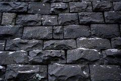 Черная текстура предпосылки каменной стены Стоковая Фотография