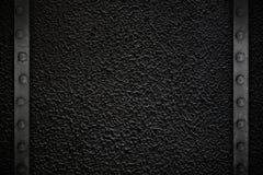 Черная текстура с рамкой металла Стоковая Фотография