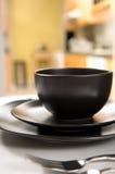 черная установка dinnerware стоковая фотография rf