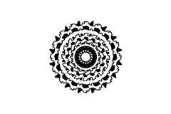 Черная флористическая мандала на белой предпосылке Оформление мандалы растра Футуристический шаблон печати Одиночный изолированны иллюстрация вектора