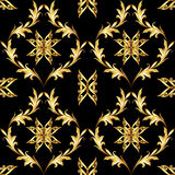 черная флористическая золотистая картина иллюстрация штока