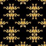 черная флористическая золотистая картина иллюстрация вектора