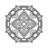 Черная флористическая мандала иллюстрация вектора