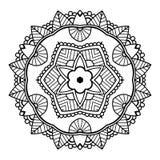 Черная флористическая мандала иллюстрация штока