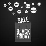 Черная хозяйственная сумка и продажи пятницы маркируют шаблон маркетинга Стоковое Изображение