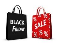 Черная хозяйственная сумка продажи пятницы Стоковое Фото