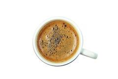 Черная чашка кофе от верхнего изолированная на белизне Стоковые Фотографии RF